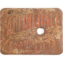 Metal Pauline Hall Cigar Cutter Plate