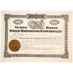 Yukon Basin Gold Dredging Company Stock  with fantastic dredging vignette