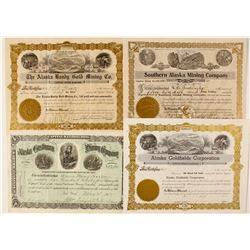 Four Alaskan Mining Stock Certificates