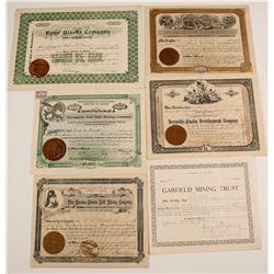 Six Alaska 1897-1909 Mining Stock Certificates