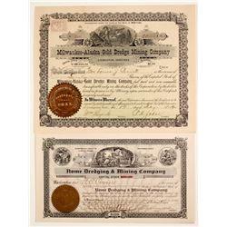 Two Alaska Dredging Stock Certificates