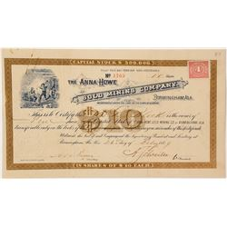 Extra Rare Alabama Gold Rush Stock Certifiate
