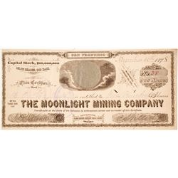 Moonlight Mining Company Stock Certificate, Globe Mining District, AZ