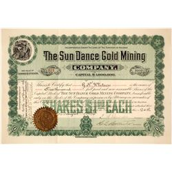 Sun Dance Gold Mining Company Stock Certificate