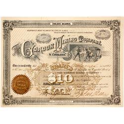 Gordon Mining Company Stock Certificate