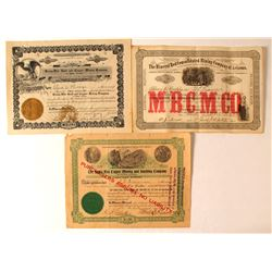 Three Arizona Mining Stock Certificates