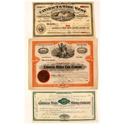 Three Different Calaveras County Mining Stock Certificates