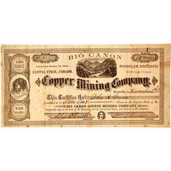 Big Canon Copper Mining Company Stock - NUMBER 1
