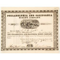 The Philadelphia & California Mining Co. Stock Certificate, Mariposa, 1859, California Gold Rush