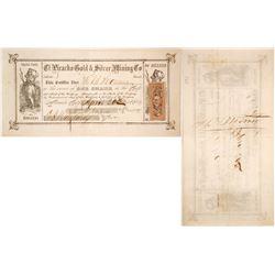 El Picacho Gold & Silver Mining Co. Stock Certificate, Nevada City, California, 1863