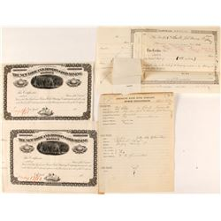 New York & Boston Gold Mining Co. Proof Stock Certificates, Nevada County, CA