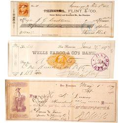 Darius Ogden Mills (Signed checks, Revenue Stamped)