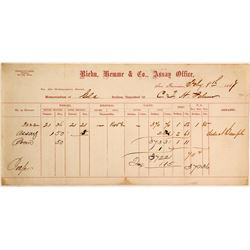 Riehn, Hemme & Co. Assay Office Memorandum, 1867, CTH Palmer