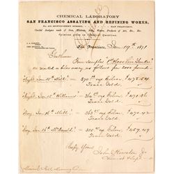San Francisco Assaying & Refining Works Memorandum, Mineral Hill, Nevada Ore, 1871