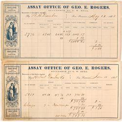 Two Geo. E. Rogers Assay Memorandums, 1868