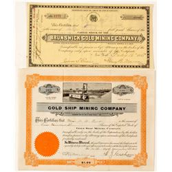 Two California Gold Mining Stock Certificates