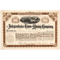The Independence Town & Mining Co. Stock Certificate, Cripple Creek, CO 1898