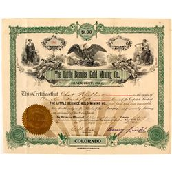 The Little Bernice Gold Mining Co. Stock Certificate, Silver Cliff, CO, 1903