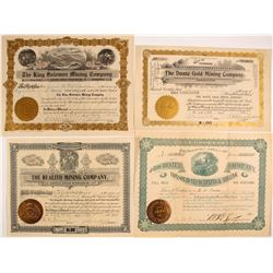Four Different Mining Stock Certificates (3 Colorado)