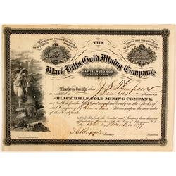 Black Hills Gold Mining Company Stock Certificate, Central City, Dakota Territory 1877