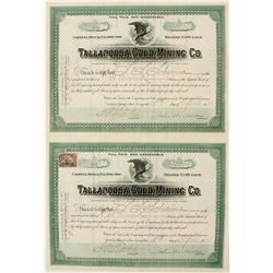 Consecutive Pair of Tallapoosa Gold Mining Company Stock Certificates