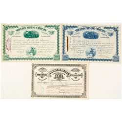 Three Good Butte, Montana Mining Stock Certificates incl. William A. Clark signatures