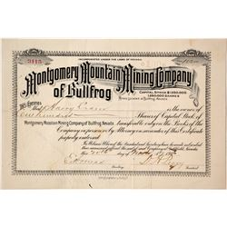 Montgomery Mountain Mining Co. of Bullfrog Stock Certificate