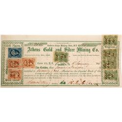 Athens Gold and Silver Mining Company Stock with Five 5c Nevada Revenue Stamps