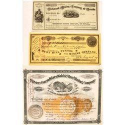 Three Different Eureka County, Nevada Mining Stock Certificates