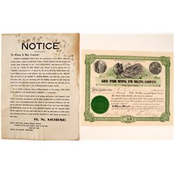 Gold Park Mining & Milling Co. Broadside & Stock Certificate