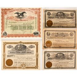 M. J. Monnette Mining Stock Collection