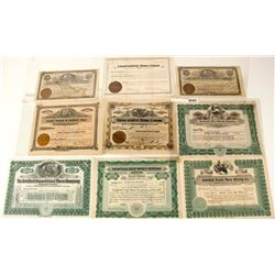 Nine Different Goldfield, Nevada Mining Stock Certificates