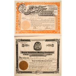Two Goldfield 'Big Cat' Stock Certificates