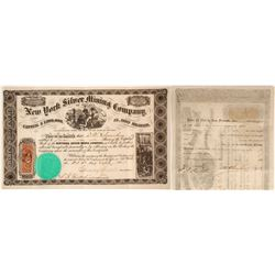 New York Silver Mining Co. of Nevada Stock Certificate, 1865