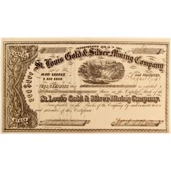 St. Louis Gold & Silver Mining Company Stock - with Big Four W. S. O'Brien Signature