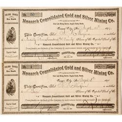 Two Monarch Consolidated Gold and Silver Mining Company Stocks