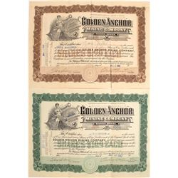 Two Different Golden Anchor Mining Company Stock Certificates