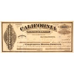 California Mining Company Stock Certificate