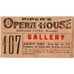Piper's Opera House Ticket, Virginia City, Nevada Theater