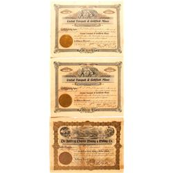 One Bullfrog & Two Tonopah, Nevada Mining Stock Certificates