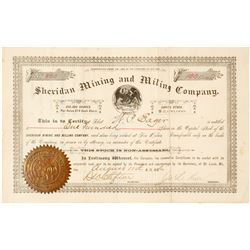 Sheridan Mining & Milling Co. Stock Certificate, Cooney, NM, 1886