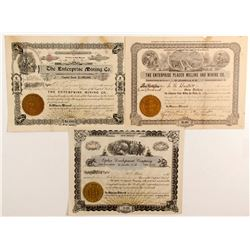 Three stock certificates - Jicarilla, N.M.
