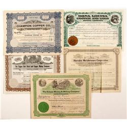 5 Various Mining Stock Cert
