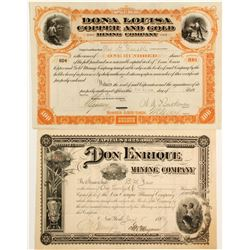 Two Early Mexico / New Mexico Stocks: Don Enrique and Donna Louisa Copper & Gold