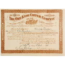 Ore Knob Copper Company Stock - Rare