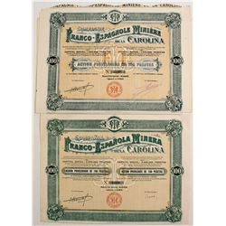 Franco-EspanoalMinera and Franco-Espanole Miniere Stock Certificates