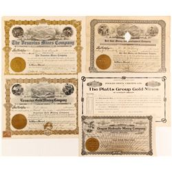 Four stock certificates from Oregon