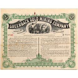 Greenback Gold Mining Company trust certificate