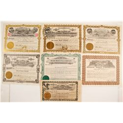 Seven Oregon Mines Stock Certificates