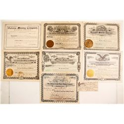 Seven Oregon Mining Stock Certificates